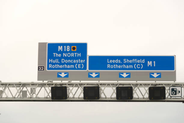 sign on motorway in england - doncaster foto e immagini stock