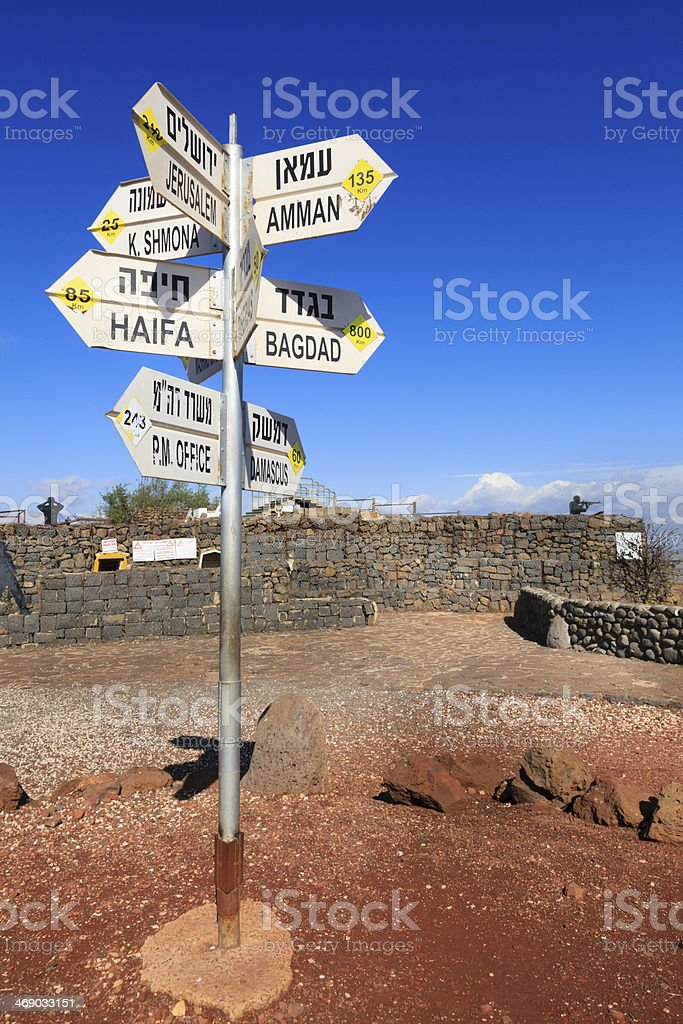 Sign on Mount Bental stock photo