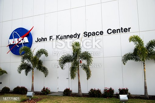 Merritt Island, Florida - February, 8 2009: Sign on NASA John F Kennedy Space Center. The John F. Kennedy Space Center is located on Merritt Island, Florida and it is a U.S. government installation that manages United States astronaut launch facilities.