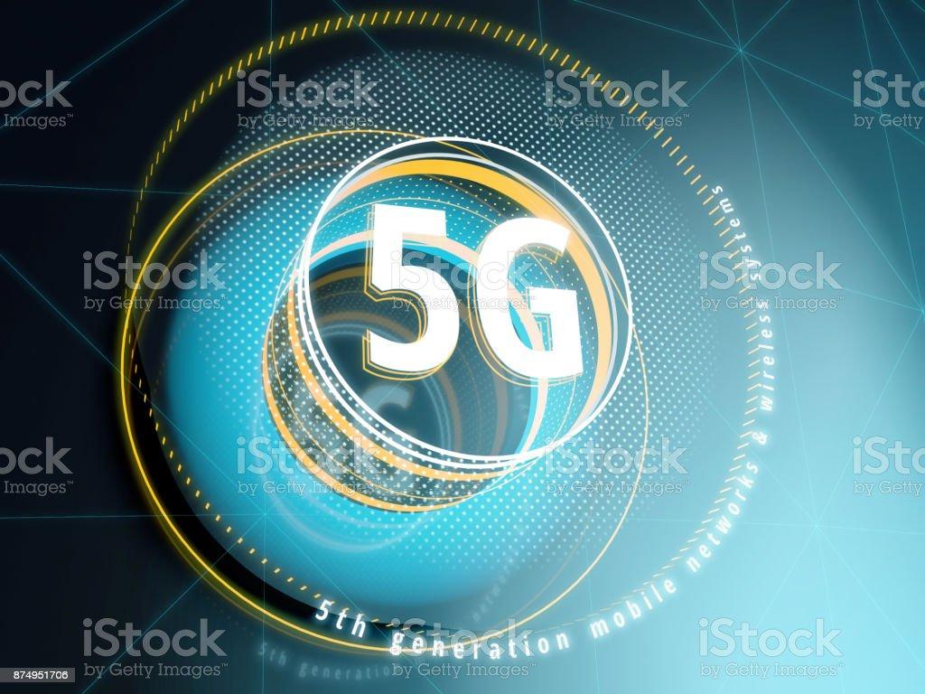 5G signer sur fond d'interface Sci-Fi avec des éléments de HUD. - Photo