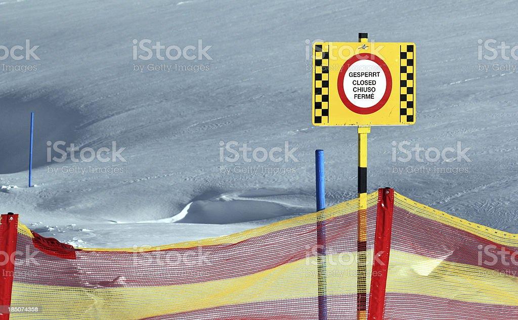 Sign on Ski slope royalty-free stock photo