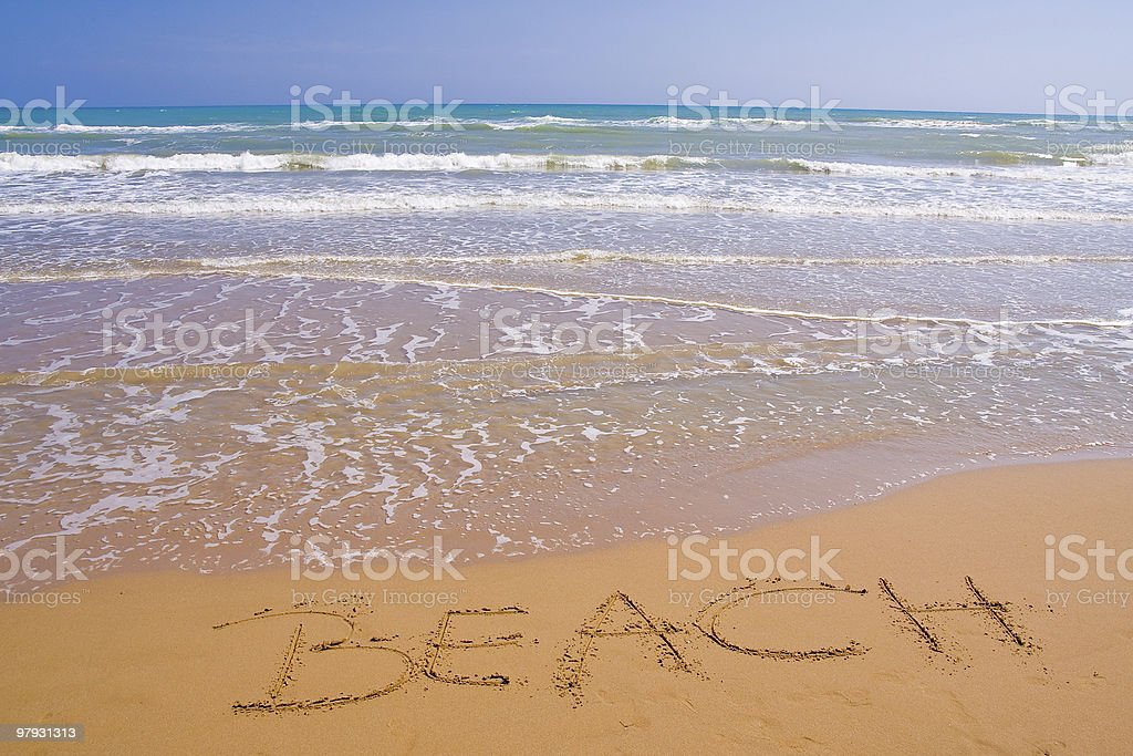 sign on the beach royalty-free stock photo