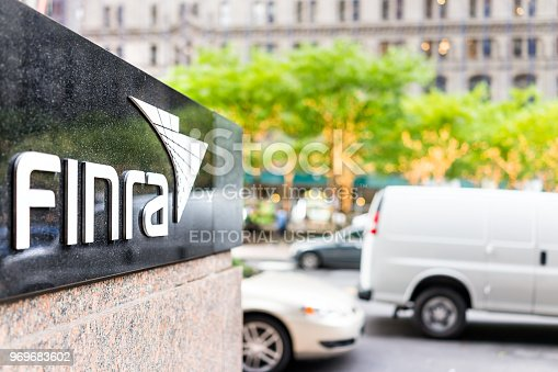 istock Sign on the building of Financial Industry Regulatory Authority, or Finra, in Manhattan NYC lower financial district downtown 969683602