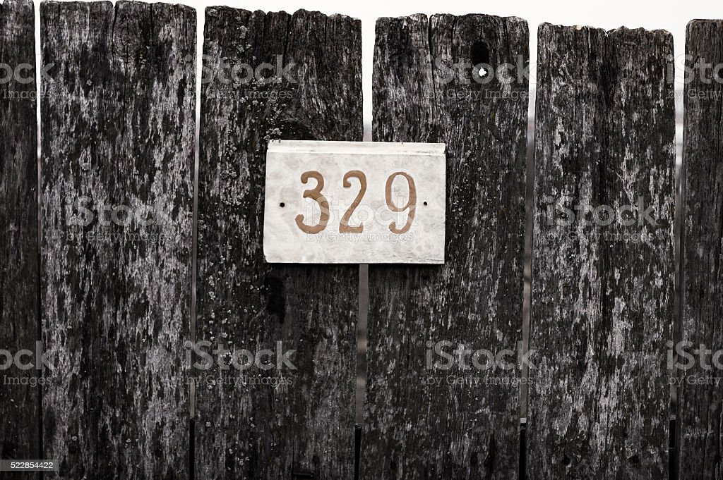 sign on the fence stock photo