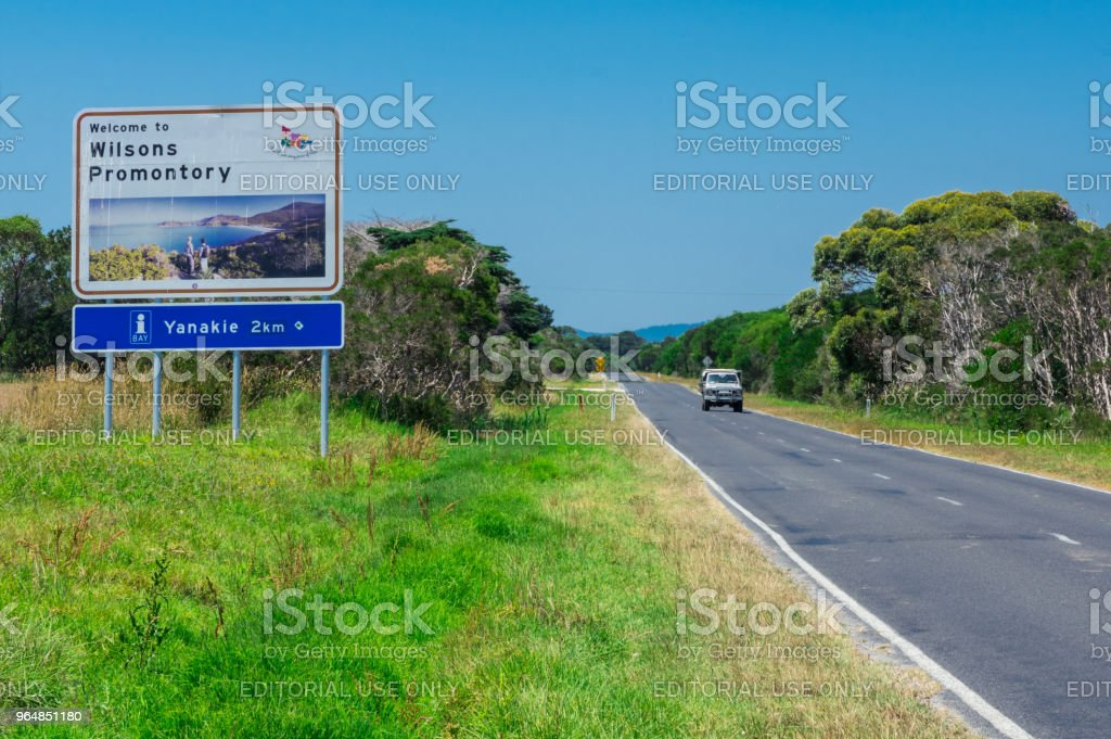Sign on the road to Wilsons Promontory National Park welcoming visitors. royalty-free stock photo