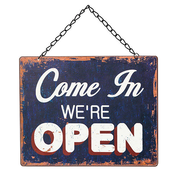 open sign on white (clipping path) - open sign stock pictures, royalty-free photos & images