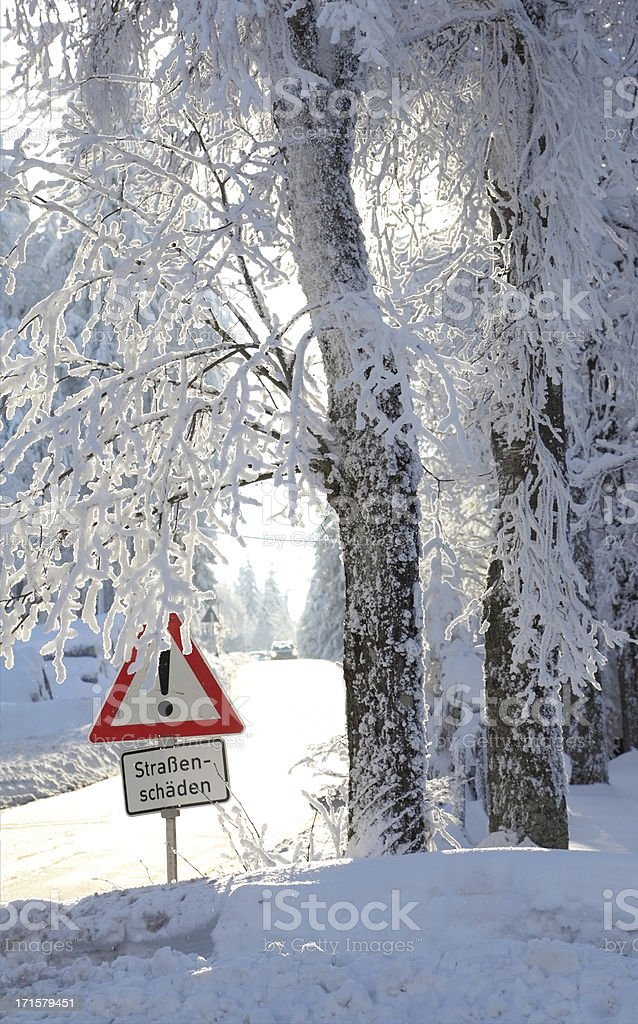 sign on winter street royalty-free stock photo