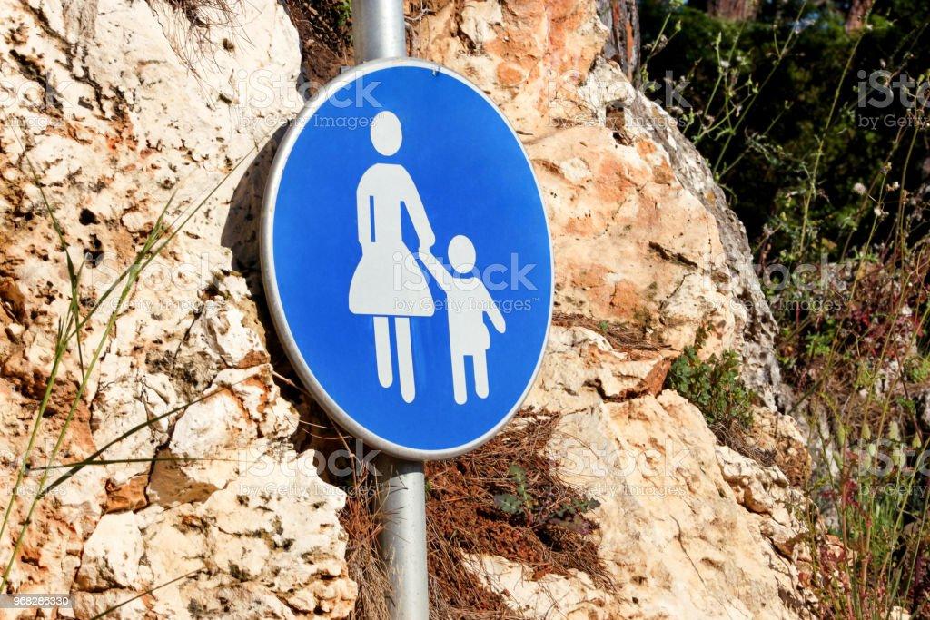 Sign Or Symbol For Pedestrians Warning Road Sign Of Blue Sign Baby