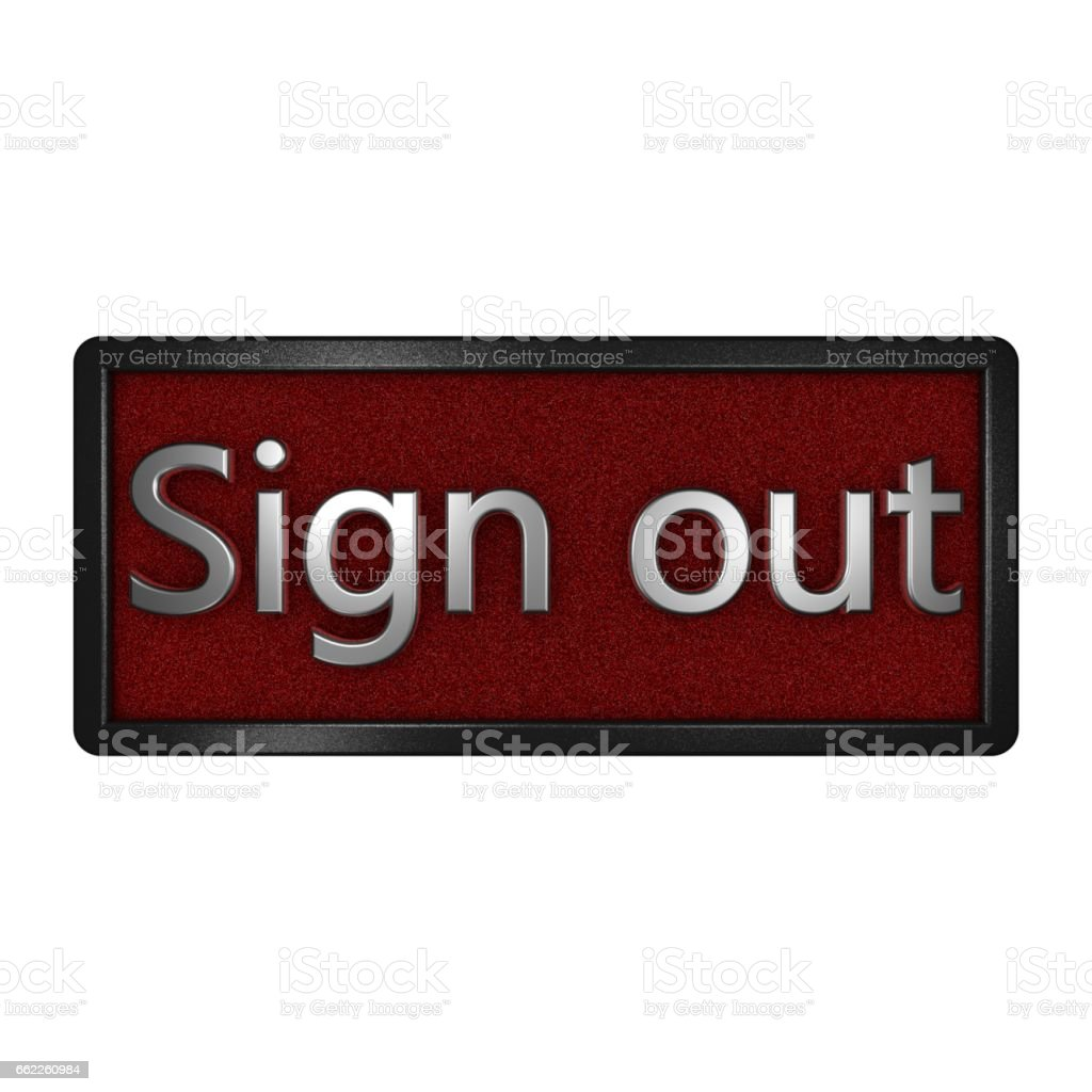 Sign out icon. Isolated graphic illustration. 3D rendering. royalty-free stock photo