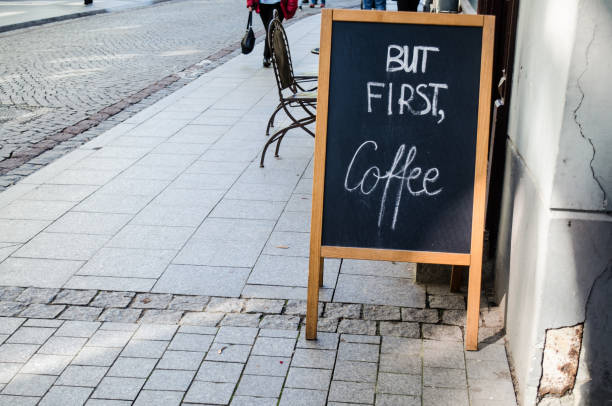 Sign outside a cafe (horizontal) stock photo