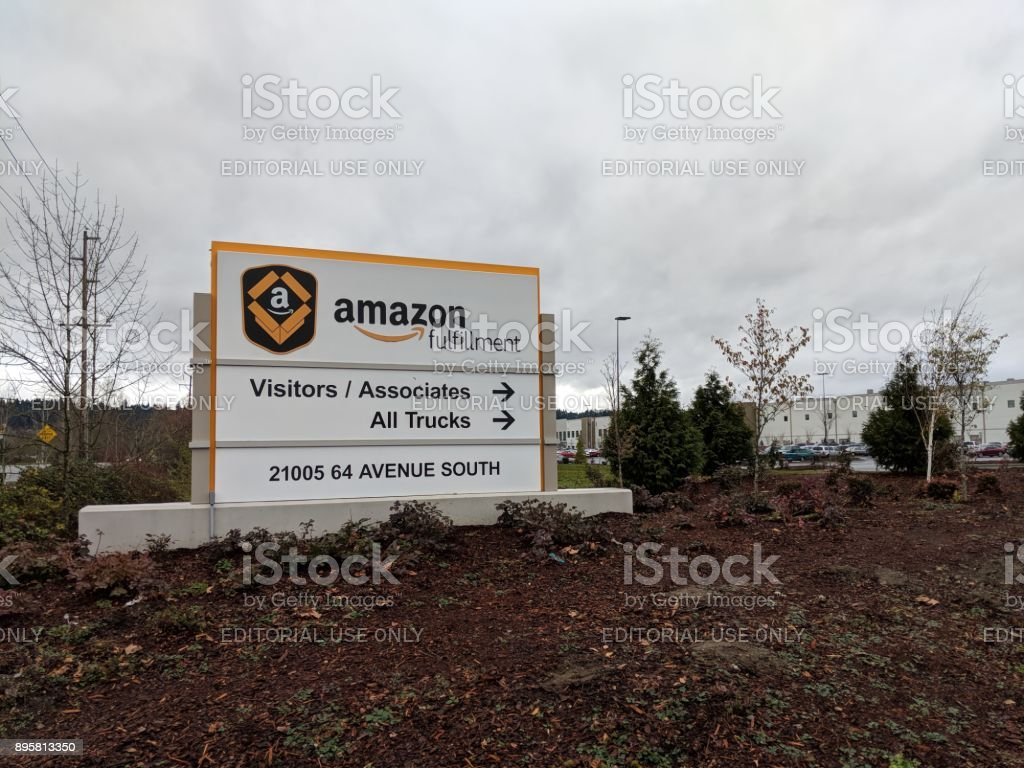 Sign Outside Amazon Fulfillment Center in Kent, Washington USA stock photo