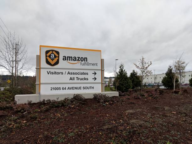 Sign Outside Amazon Fulfillment Center in Kent, Washington USA stock photo