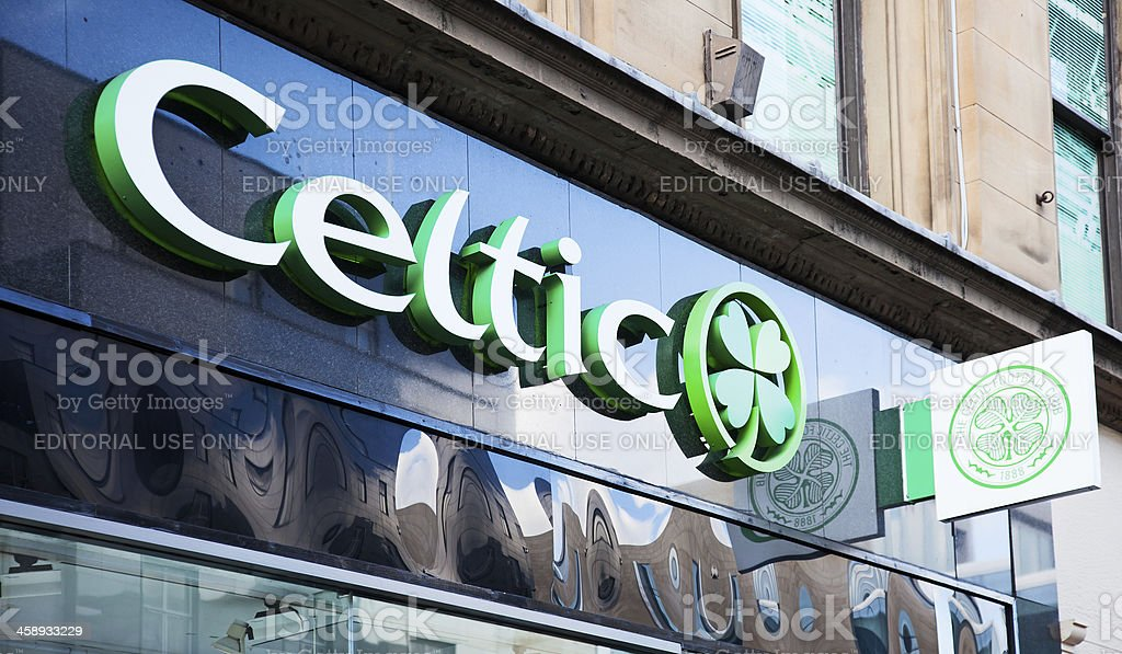Sign outside the Celtic Football shop, Glasgow royalty-free stock photo