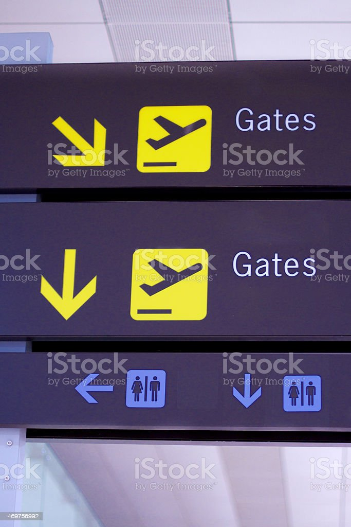 Sign Panel at Airport stock photo