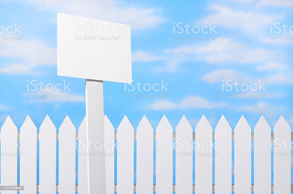 Sign & Picket Fence royalty-free stock photo