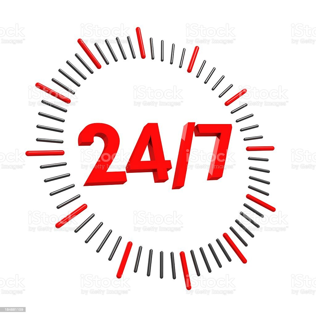 24/7 Sign stock photo