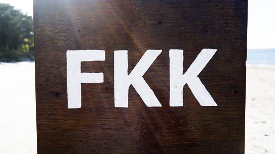 Germany, Sign FKK at beach stock image. Image of journey