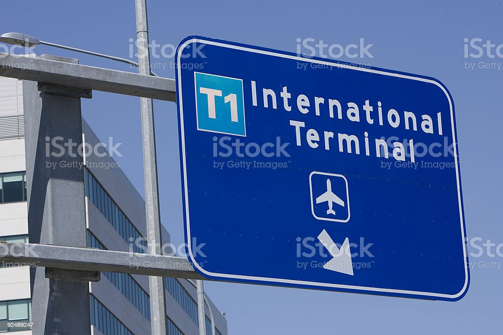 Sign pointing way to International aiport terminal royalty-free stock photo