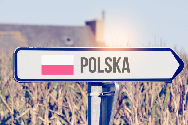 A sign points to the clues to Poland stock photo