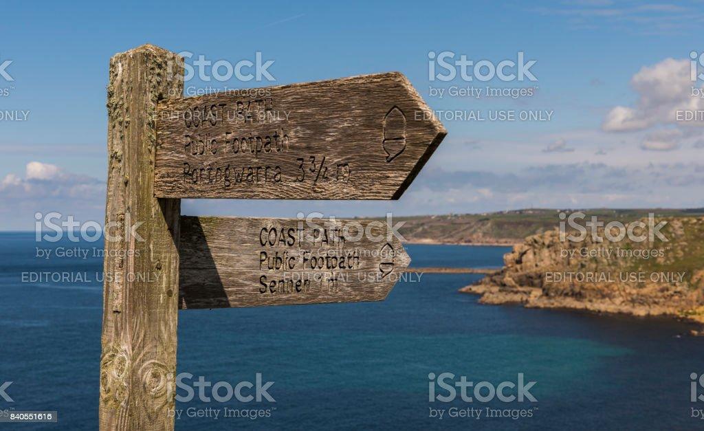 Sign Post Coast Path stock photo