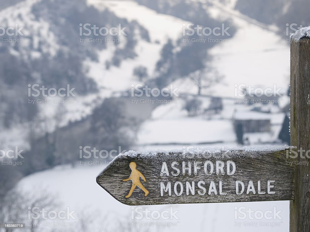 Sign Post in the snow stock photo
