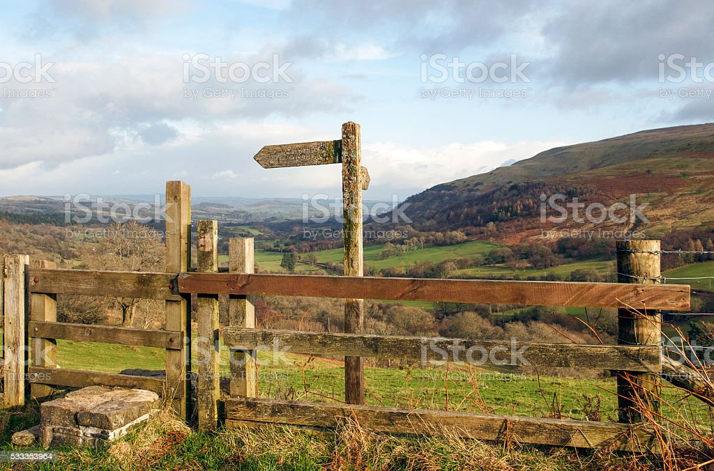 Sign Post on the Brecon Beacons stock photo