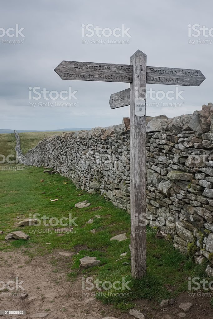 Sign post on top of Pen-y-ghent, England stock photo