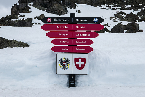 Sign post showing two directions for two ski resorts in European Alps - Ischgl and Samnaun