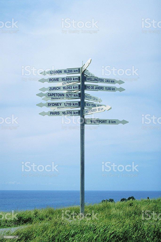 Sign Post, Westport, New Zealand stock photo