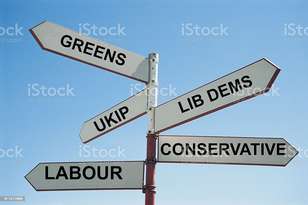 Sign post with UK Political parties stock photo