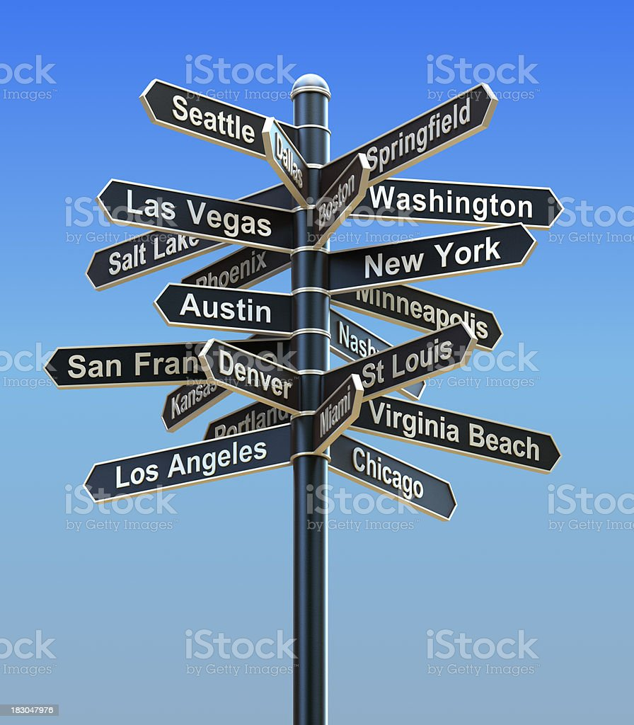 Sign post with USA cities in all directions stock photo