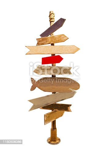 istock Sign post wood isolated on white background , with clipping path . can be used for display or enter text and montage anything your . Hello summer Sign post Concept. 1150506086