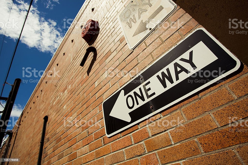 "Sign reading ""One Way"" royalty-free stock photo"