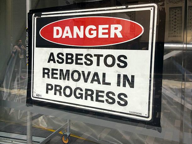 Firmare recita : Danger-amianto rimozione in corso - foto stock