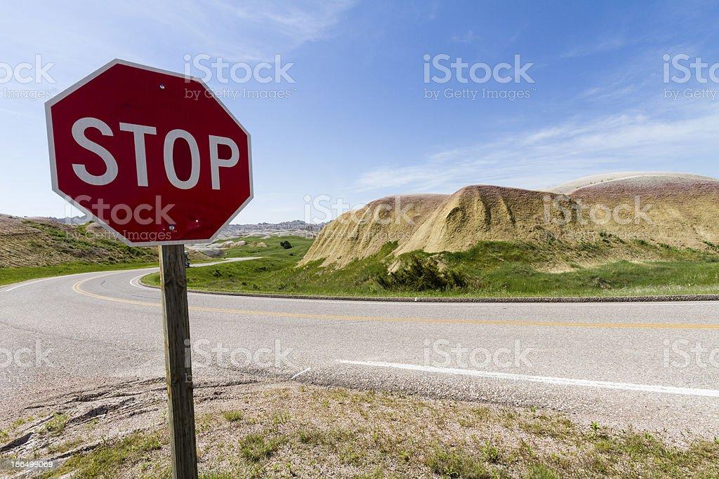 Sign Road at the Badlands National Park, South Dakota, USA royalty-free stock photo