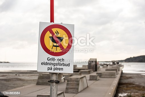 Gothenburg, Sweden - October 03 2020: Sign saying that open fire and barbeque is forbidden.