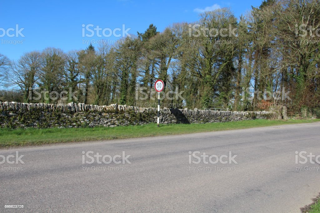 Sign speed restriction 50 km/h ireland royalty-free stock photo