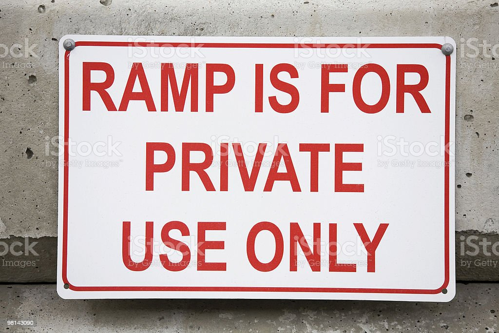 Sign stating ramp is for private use only royalty-free stock photo