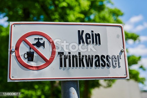 Sign in Germany that indicates that a fountain does not contain drinking water.
