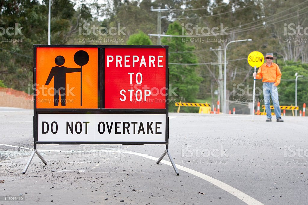 A sign to attempt to mitigate traffic stock photo