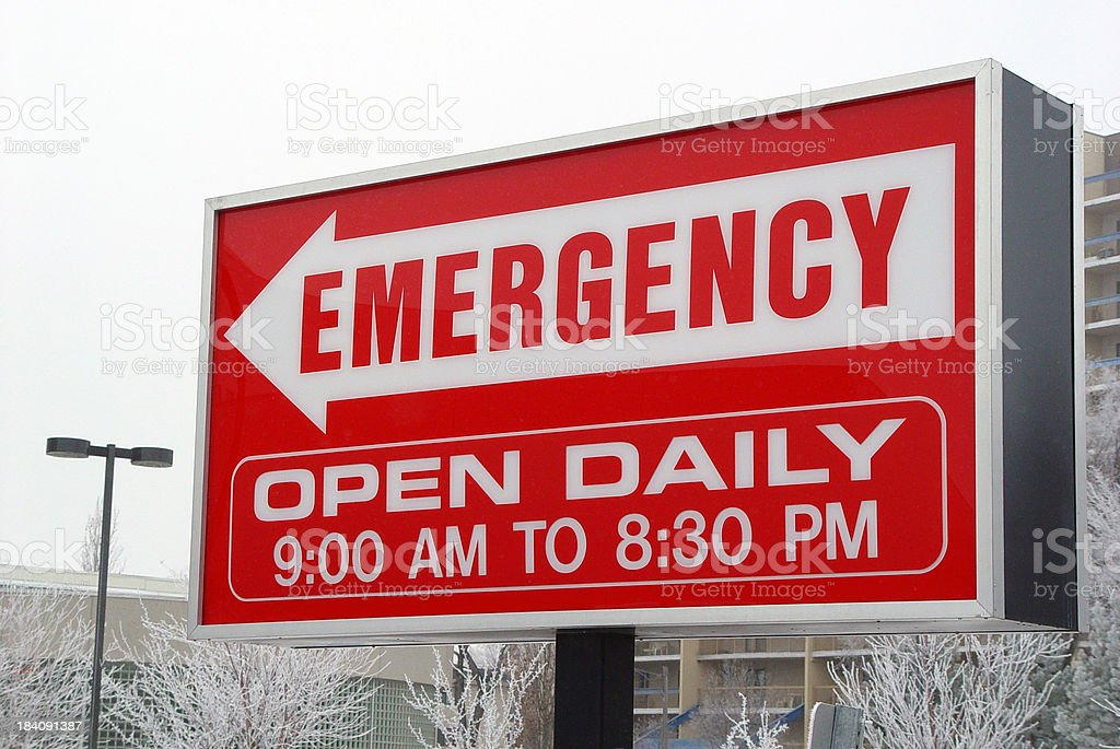 Sign to emergency ward royalty-free stock photo