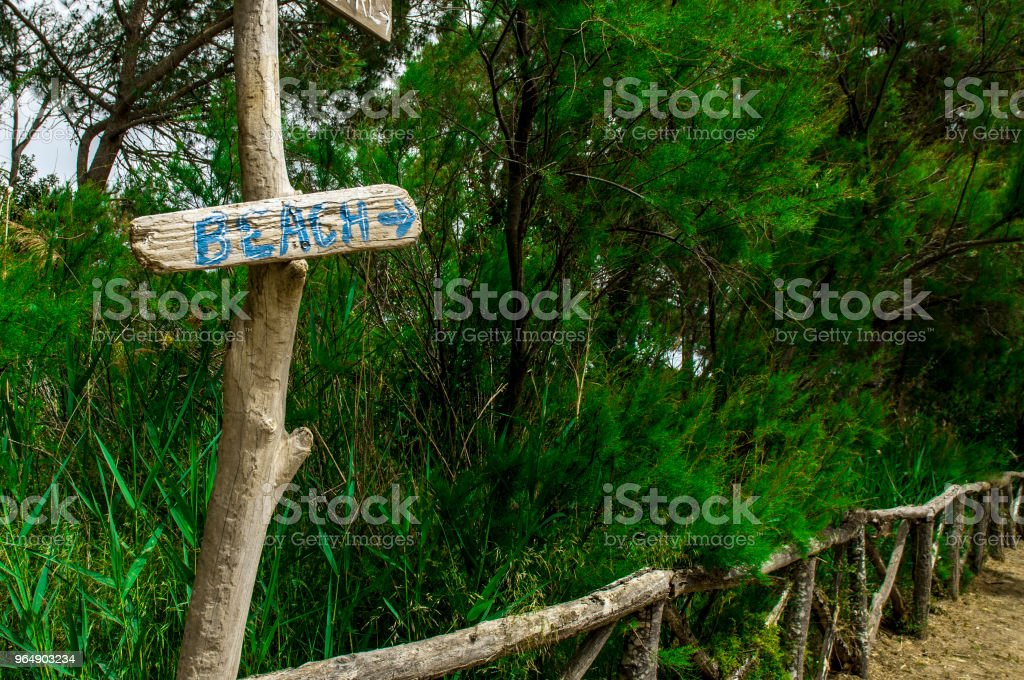 A sign to the beach royalty-free stock photo