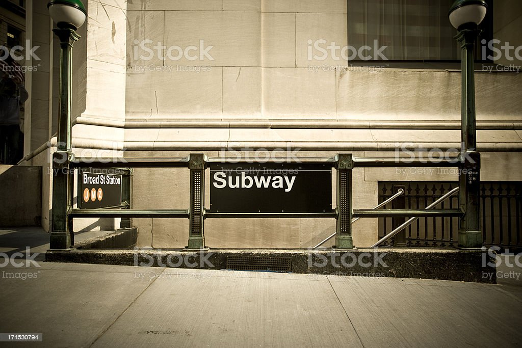 Sign to the subway stock photo