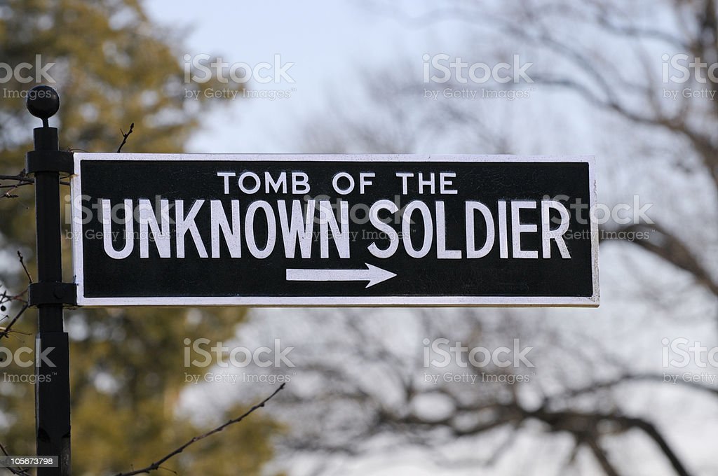 Sign Tomb of the Unknown Soldier royalty-free stock photo