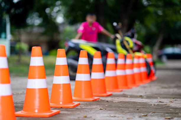 Sign traffic, cone traffic safety on road street stock photo