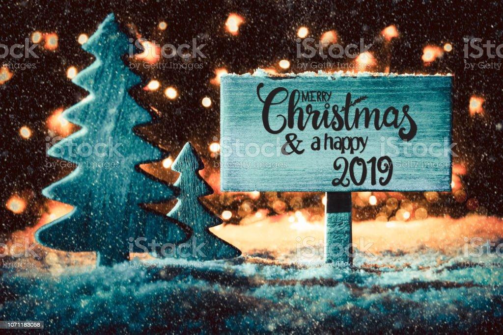 Weihnachten 2019 In Deutschland.Zeichen Baum Schnee Kalligraphie Frohe Weihnachten Und Ein