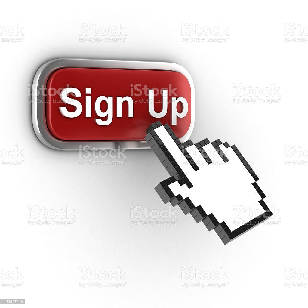 sign up 3d button stock photo