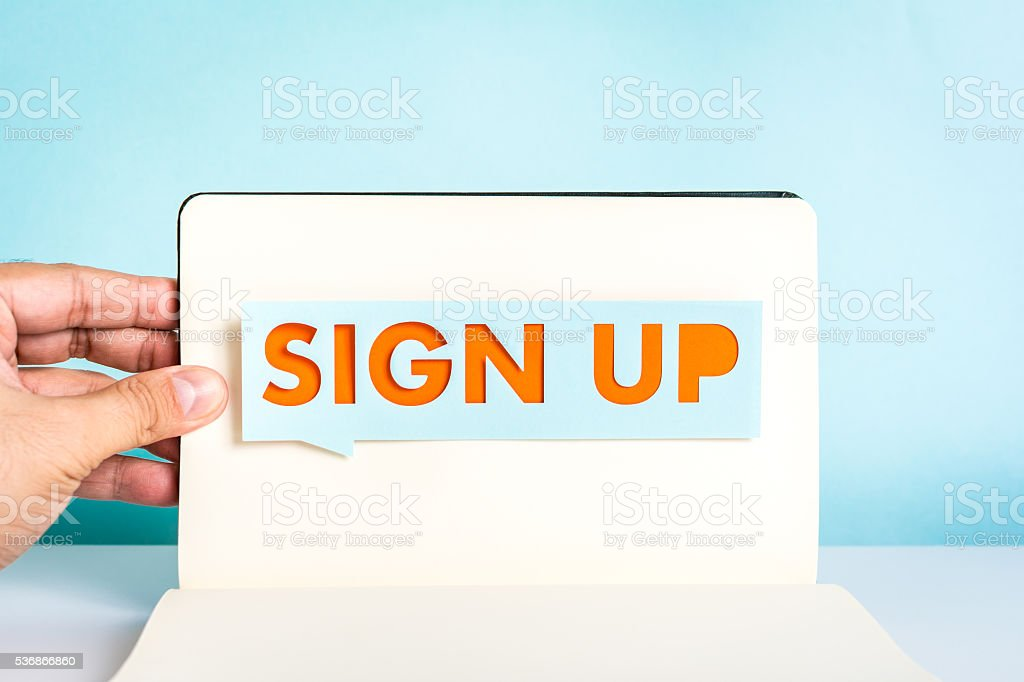Sign up concept stock photo