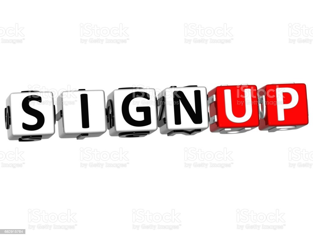 3D Sign Up Cube Text stock photo