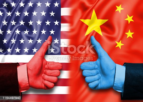 THUMBS UP SIGN - OK Sign / USA and CHINA Flag Concept (Click for more)